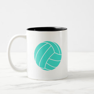 Turquoise; Blue Green Volleyball Two-Tone Mug