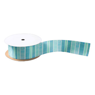 Turquoise Blue Green Watercolor Wash Stripe Satin Ribbon