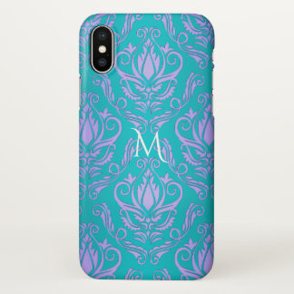 Turquoise Blue Green With Purple Damask Monogram iPhone X Case
