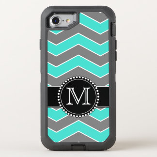 Turquoise Blue, Grey, Black Chevron, Monogrammed OtterBox Defender iPhone 7 Case