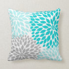 Turquoise blue Grey Dahlia mod decor sofa pillow