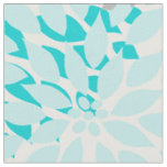 Turquoise Blue Grey Dahlias MOD floral print Fabric