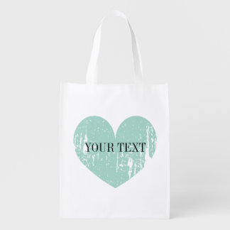 Turquoise blue heart design reusable shopping bag market tote