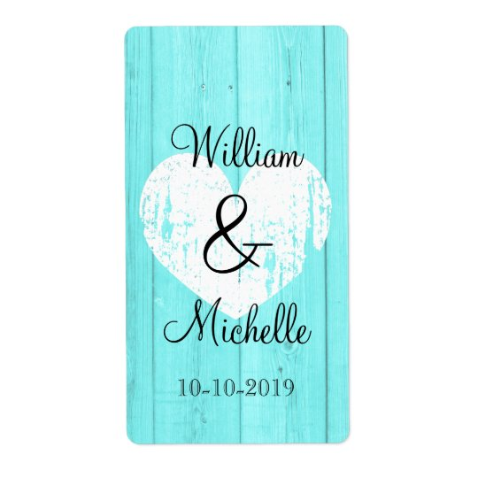 Turquoise blue heart wedding wine bottle labels