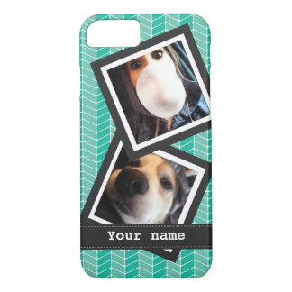 Turquoise Blue Herringbone with Photos and Name iPhone 7 Case