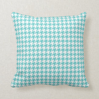 Turquoise blue houndstooth pattern throw pillow