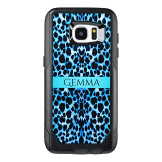 Turquoise Blue Leopard Animal Print OtterBox Samsung Galaxy S7 Edge Case