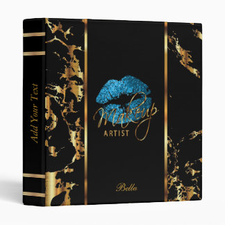 Turquoise Blue Lips and Gold Marble Binders
