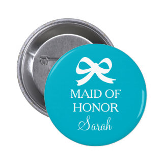 Turquoise blue Maid of honor button for wedding