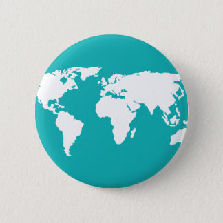 turquoise blue map 2 inch round button