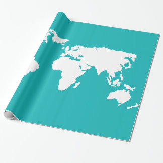 turquoise blue map wrapping paper