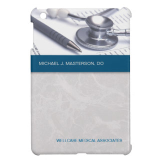 Turquoise Blue Marble Gray Medical iPad Mini Case