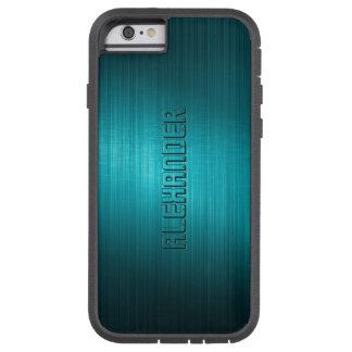 Turquoise-Blue Metal Look Pattern-Monogram 2 Tough Xtreme iPhone 6 Case