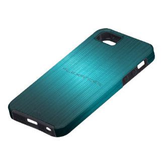 Turquoise-Blue Metal Look Pattern-Monogram iPhone 5 Covers