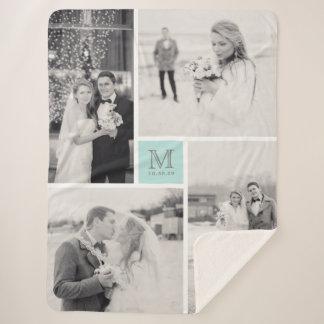 Turquoise Blue Monogram 4 Photo Collage Wedding Sherpa Blanket