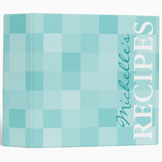 Turquoise blue mosaic pattern recipe binder book