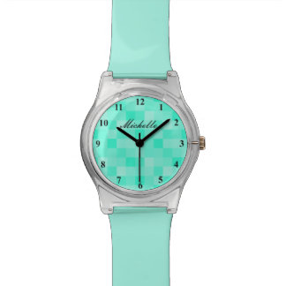 Turquoise blue mosaic pattern watch for women