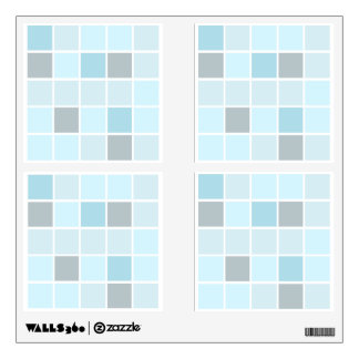 Turquoise blue mosaic square tile wall decal set