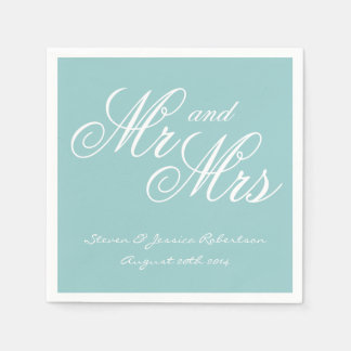 Turquoise blue Mr and Mrs paper wedding napkins Paper Napkins