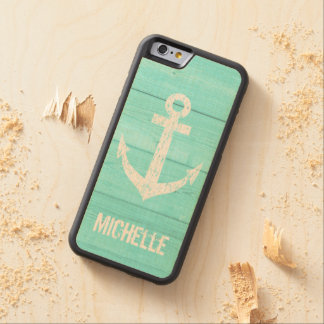 Turquoise blue nautical anchor panel iPhone 6 case