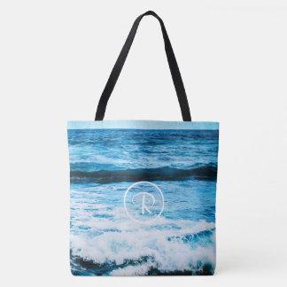 Turquoise blue ocean waves photo custom monogram tote bag