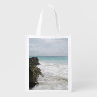 Turquoise Blue Ocean with Foamy Waves Seascape Reusable Grocery Bag