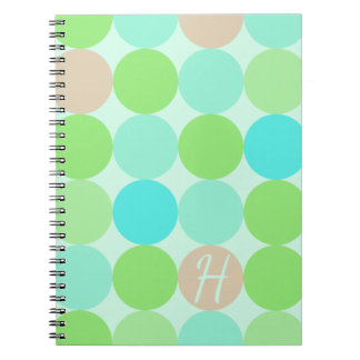Turquoise Blue & Orange Circles Monogram Notebook