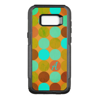 Turquoise Blue & Orange Circles Monogram OtterBox Commuter Samsung Galaxy S8+ Case