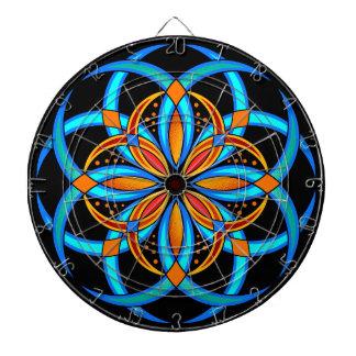 turquoise blue orange digital art mandala dartboard