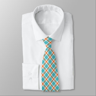 Turquoise Blue, Orange & White Plaid Men's Tie
