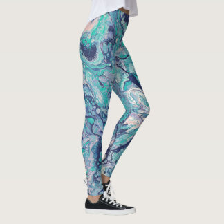 Turquoise, Blue, & Pale Pink Abstract Leggings