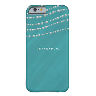 Turquoise Blue & Pearls Elegant Glamour Custom Barely There iPhone 6 Case