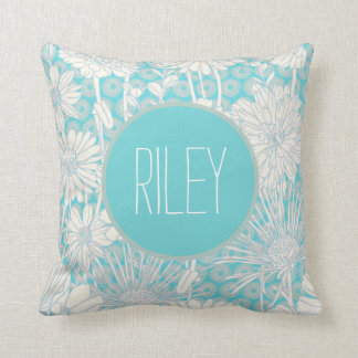 Turquoise Blue Personalized Girl's Floral Pattern Throw Pillow