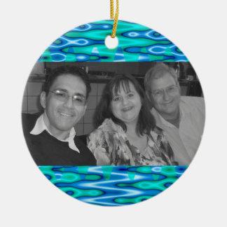 turquoise blue photoframe ceramic ornament