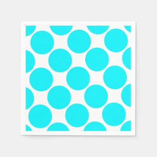 Turquoise Blue Polka Dot Disposable Napkins