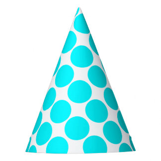 Turquoise Blue Polka Dot Party Hat