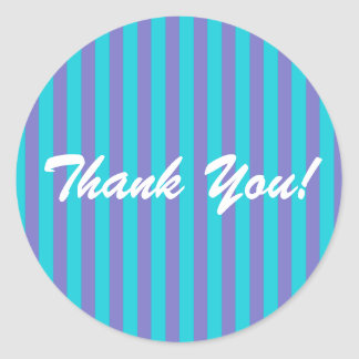 Turquoise Blue/Purple Stripe Classic Round Sticker