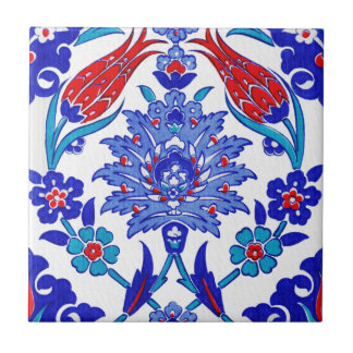 Turquoise Blue Red Ancient Turkish Floral Tile