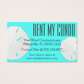 Turquoise Blue Rent My Condo Business Cards