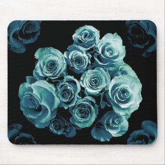 TURQUOISE BLUE Rose Bouquet Mouse Pad