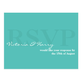 Turquoise blue RSVP simple wedding response card Postcard