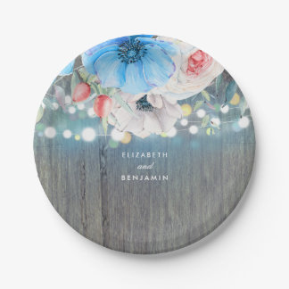 Turquoise Blue Rustic Floral Wedding Paper Plate