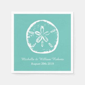 Turquoise blue Sand dollar beach wedding napkins