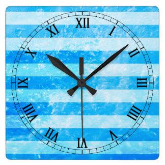 Turquoise Blue Sea Stripes Square Wall Clock
