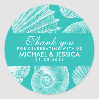 Turquoise Blue Seashell Wedding Thank You Sticker