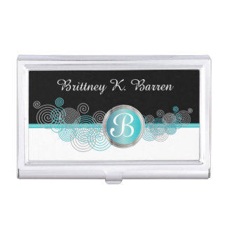 Turquoise Blue, Silver and Black Abstract Curls Business Card Holder