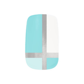 Turquoise Blue Silver Foil Color Block Minx Nail Art