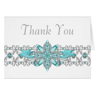 Turquoise Blue Silver Thank You Cards