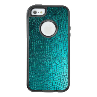 Turquoise Blue Snakeskin Leather Print OtterBox iPhone 5/5s/SE Case