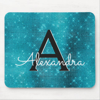 Turquoise Blue Sparkle Girly Monogram Name Mouse Pad